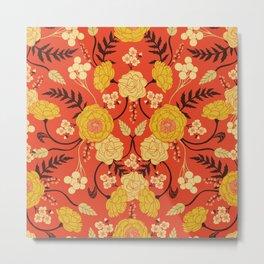 Vibrant Orange, Yellow & Brown Floral Pattern w/ Retro Colors Metal Print