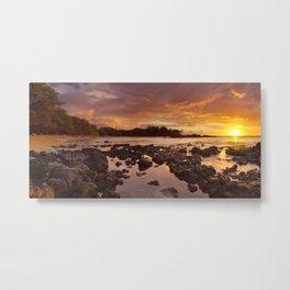 Sunset at Waialea Beach or Beach 69, Big Island Hawaii, USA Metal Print