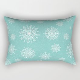 Assorted Snowflakes On Turquoise Backround Rectangular Pillow