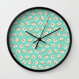 Rainbow Sprinkle Donuts on Aqua Wall Clock