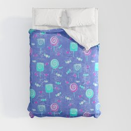 Lollipop And Candy Bright Blue Confection Comforters
