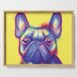 FRENCH BULLDOG COLORFUL WATERCOLOR ILLUSTRATION Serving Tray