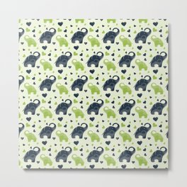 Cute blue and green elephant pattern Metal Print