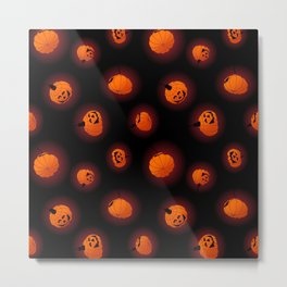 Halloween Light Pumpkins Metal Print
