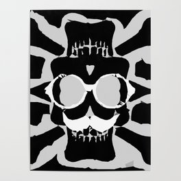 old funny skull with glasses art portrait in black and white Poster