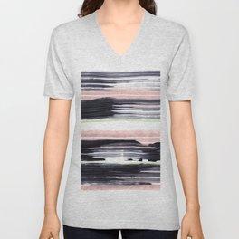 Black stripe Unisex V-Neck