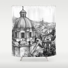 Prague over the rooftops Shower Curtain
