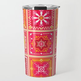 Talavera Mexican Tile – Hot Pink & Orange Palette Travel Mug