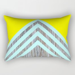 Yellow Turquoise Chevron Wood Rectangular Pillow