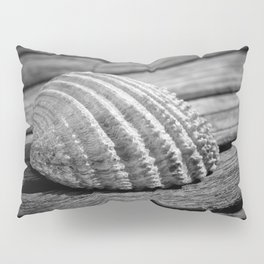 Half a sea shell on wood Pillow Sham