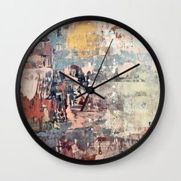 Mirage [1]: a vibrant abstract piece in pinks blues and gold by Alyssa Hamilton Art Wall Clock