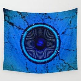 Cracked blue music speaker Wall Tapestry