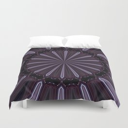 Eggplant and Pale Aubergine Abstract Floral Pattern Duvet Cover