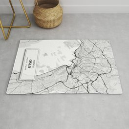 Oslo Norway City Map with GPS Coordinates Rug
