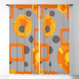 Orange yellow Rings Rectangles grey geometric Blackout Curtain