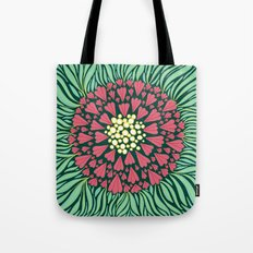 Pink and green florals Tote Bag