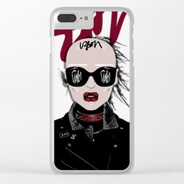 URBAN Shaved Head Girl Portrait with Black Perfecto Clear iPhone Case