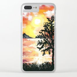 Water Reflection Sunset Clear iPhone Case