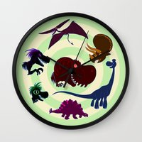 cartoons Wall Clocks featuring Dinosaur Cartoons by Cartoonasaurus