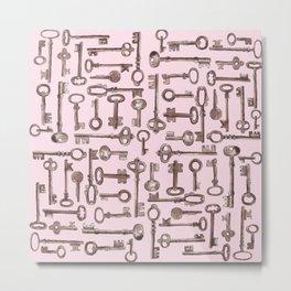 Old Keys-Pink Metal Print