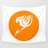 fairy tail Wall Tapestries featuring Fairy Tail Segmented Logo (Guild Hall) circle by JoshBeck