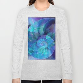 Blue Nautilus Shell  - Seashell Art By Sharon Cummings Long Sleeve T-shirt