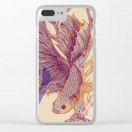 Relaxed Betta splendens Clear iPhone Case