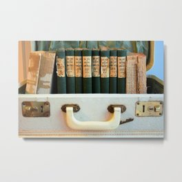 Aged Books in a Suitcase Metal Print