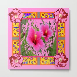 PINK TROPICAL RED-PINK HIBISCUS FLOWERS DESIGN Metal Print