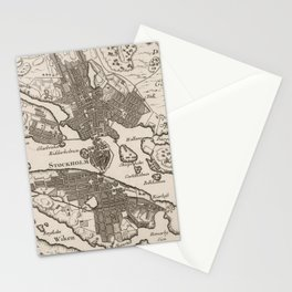 Vintage Map of Stockholm Sweden (1764) Stationery Cards