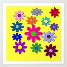 Flower Power, Cute Flowers, Pretty Colorful Flowers Art Print