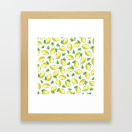 Lemon Watercolor Pattern Framed Art Print