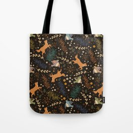 Autumn Woodsy Floral Forest Pattern With Foxes And Birds Tote Bag