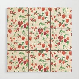 Watercolor Strawberries Wood Wall Art