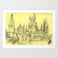 hogwarts Art Prints featuring Hogwarts by Christina Brunnock