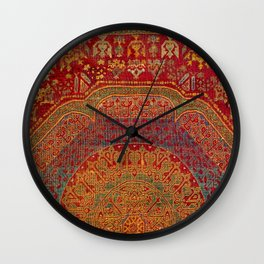 Bohemian Medallion VI // 15th Century Old Distressed Red Green Blue Coloful Ornate Rug Pattern Wall Clock