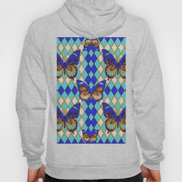 ARGYLE ABSTRACTED  BROWN SPICE  MONARCHS BUTTERFLY & BLUE-WHITE Hoody