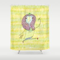 anxiety Shower Curtains featuring Anxiety disco by Dobleu