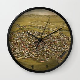 Vintage Pictorial Map of Somerville NJ (1882) Wall Clock