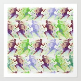 Watercolor women runner pattern Brown green blue Art Print