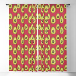 Red Avocado Pattern Blackout Curtain