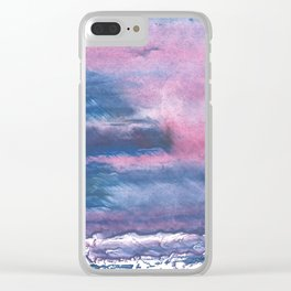 Pink Blue streaked watercolor painting Clear iPhone Case