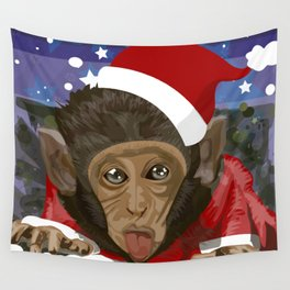 Christmas monkey Wall Tapestry