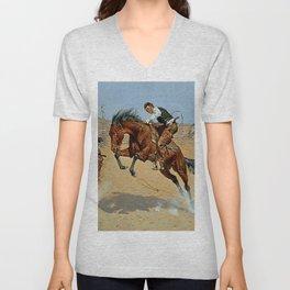 "Frederick Remington Western Art ""Turn Him Loose"" Unisex V-Neck"