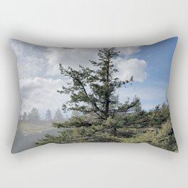 Gnarled Tree Against Blue Sky and Clouds, Beautiful Landscape of Old Tree Rectangular Pillow