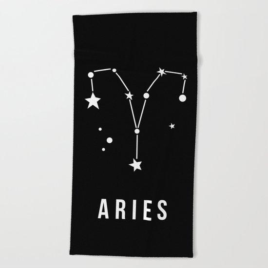 Aries Zodiac Sign Quote Beach Towel