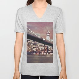 New York City Brooklyn Bridge Lights Unisex V-Neck