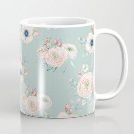 Dog Rose Pattern Mint Coffee Mug