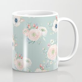 Dog Rose Pattern Mint Coffee Mug