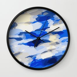 blue grey and dark blue painting abstract background Wall Clock